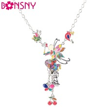 Buy Bonsny Maxi Alloy Butterfly Fairy Enamel Jewelry Colorful Pendant 2016 New Fashion Jewelry Women Statement Charm for $6.75 in AliExpress store