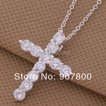 Wholesale-Zircon Silver Cross Pendant Necklace Fashion Jewelry Top Quality Beautiful Christmas gift(China)