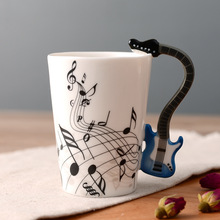 New Creative Stave Guitar Ceramic Cup Personality Music Note Sensitive Mug Cup Coffee Tea Milk Cup Unique Gift Home Cafe 250ml