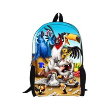 whosepet-16 inches new design rio 2 backpck cartoon backpack with rio design kids backpack rio movie free shipping