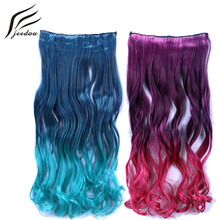"jeedou Wavy Synthetic Hair Clip in Hair Extensions 5Clips 22"" 55cm 120g Blue Green Pink Gradient Omber Color Women's Hairpieces"