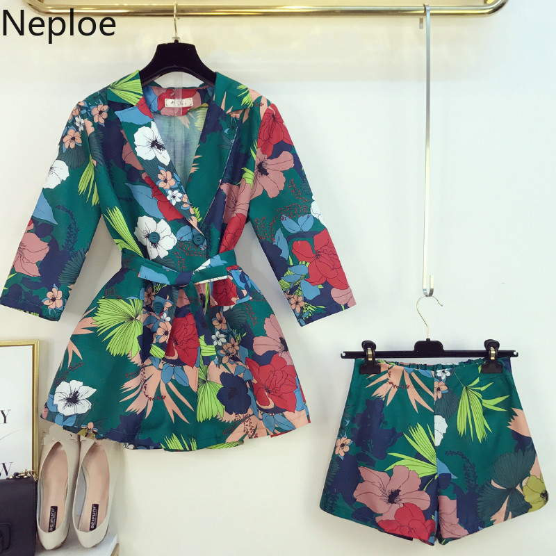 Neploe Fashion Notched Floral Blazers Sashes Vintage Jacket Shorts Womens Two Piece Sets 2019 Elegant Ladies Outfits Suits 39161