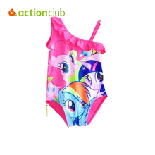 Actionclub My Little Pony One Piece Swimsuits Baby Kids Monokini Girls Swimwear Swimming Costumes 3-10 Year Girl Swimsuit KW073