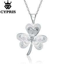 WHOLESALE N734 50% OFF latest design popular lucky silver 18inch pendant charm clover necklace jewelry women lady gift xmas sale(China)