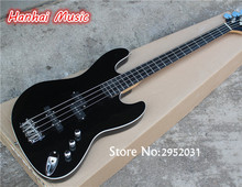 Hot Sale Custom 4-String Bass Guitar,Ebony Fretboard,Black Color,White Binding,3 Open Pickups,can be Customized