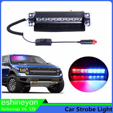 12W 8 LED Car Vechicle Emergency Strobe Flasher Auto Warning Light  Police Light Fireman Caution Pilot Lamp Red Blue White Amber