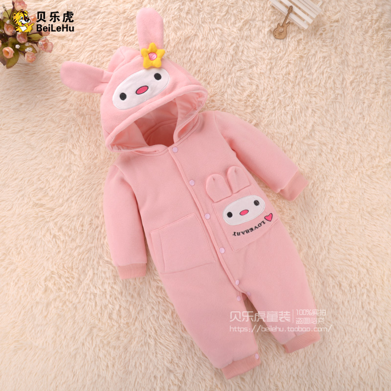 Cotton Baby Girl Winter Clothes Long-sleeve Thickening Newborn Winter Wadded Jacket Baby Romper 0 - 3 Months Old With Hood<br><br>Aliexpress