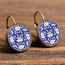 SUTEYI Charm Blue Henna Mandala Earrings Glass Dome Art Ear Cuff Jewellery Yoga Om Symbol Zen Buddhism Glass Earrings For Women