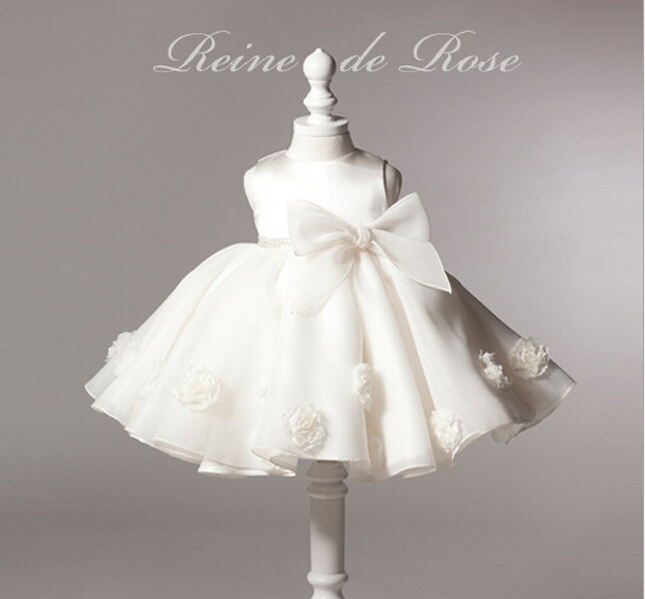2016 Children Newest High Grade Flower Wedding Dress Fashion Girls Bow Princess Dress Baby White Sleeve Dress<br>