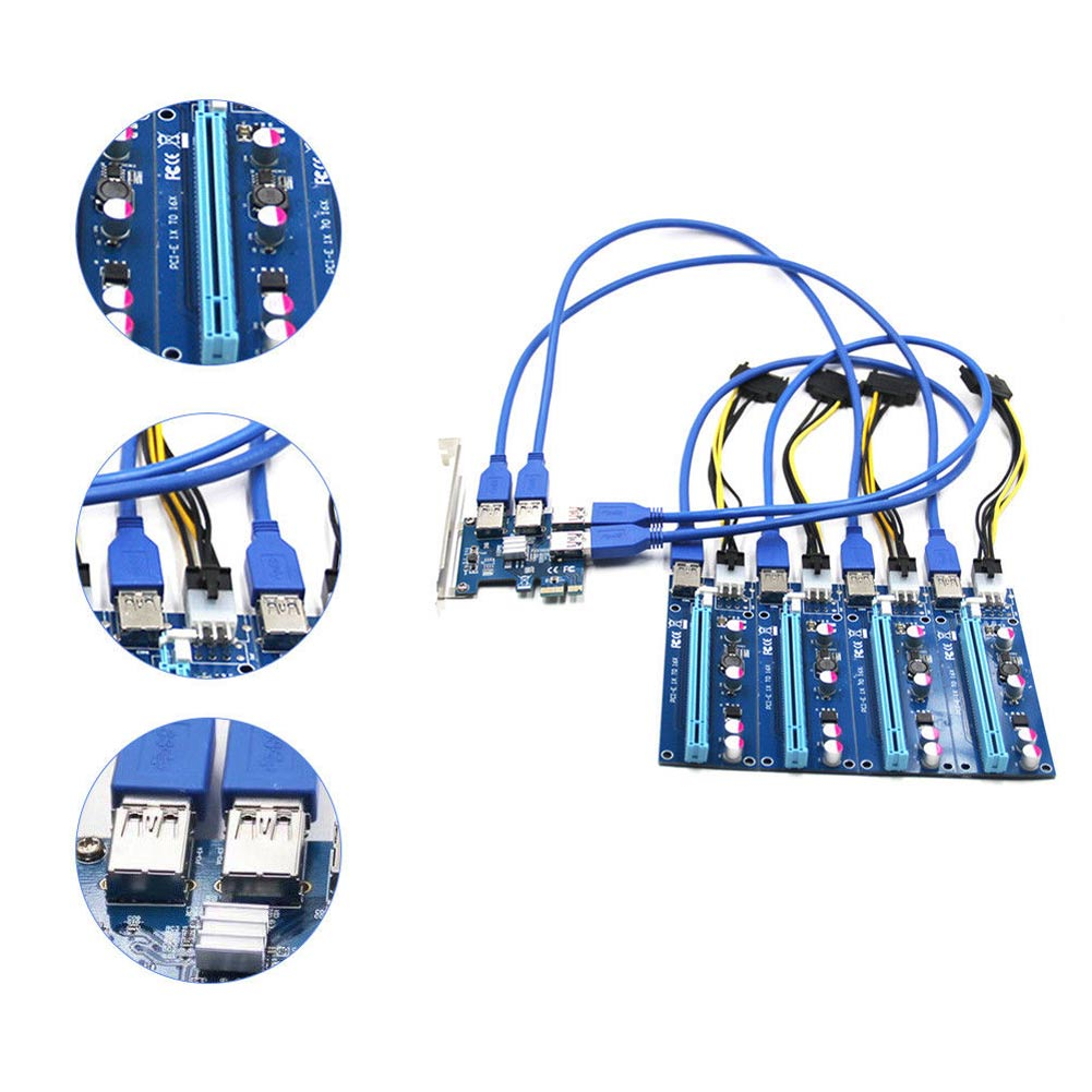 1 Set PCI-E 1X to 4 PCIE 16X Slots Riser External Adapter PCI-E Port Card Cable Board Set EM88<br>