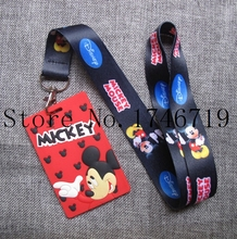 New 1 pcs cartoon mickey  Named Card Holder Identity Badge with Lanyard  Neck Strap Card Bus ID Holders With Key Chai D-16