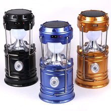 Solar Panel Lamp Bright Night Light Portable LED Camping Lantern Torch For Hiking Camping Blackouts Lightweight Collapsible