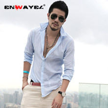 ENWAYEL 2019 Brand Thin Fashion Shirts For Men Summer 2019 Casual Shirts blouse Long Sleeve Male Shirt Soft Linen Cotton Tops(China)