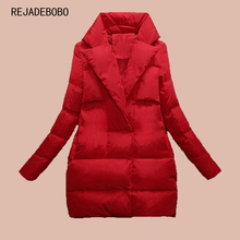 REJADEBOBO Women Down Parka 2017 Autumn Winter Jacket Women Down Coats Female Outerwear Long Lady Clothing White Duck Down Red