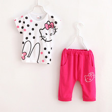 2015 Girls Sport Suit Set Brand Hello Kitty Short Sleeve 2-10y Kids Clothing Set for Children Sportswear Clothes Summer Style 29