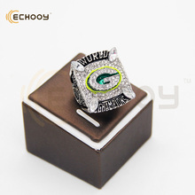 2010 green bay packers super bowl championship rings golen&silver with box that a best gift ring for fans(China)