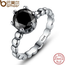 BAMOER Genuine 100% 925 Sterling Silver Ring with Black Cubic Zirconia For Women Wedding Jewelry PA7109(China)