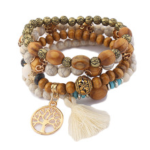 2017 Cute Wood Bead Bohemia Elastic Charms Bracelets & Bangles  Wooden Beads Bracelet Multilayers Pulseras Women