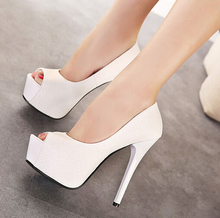 Hot! 2015 Women's Shoes Stilettos Super 14cm High Heels Party Woman Sandals Sexy Fish Head Platform Pumps Women Shoes