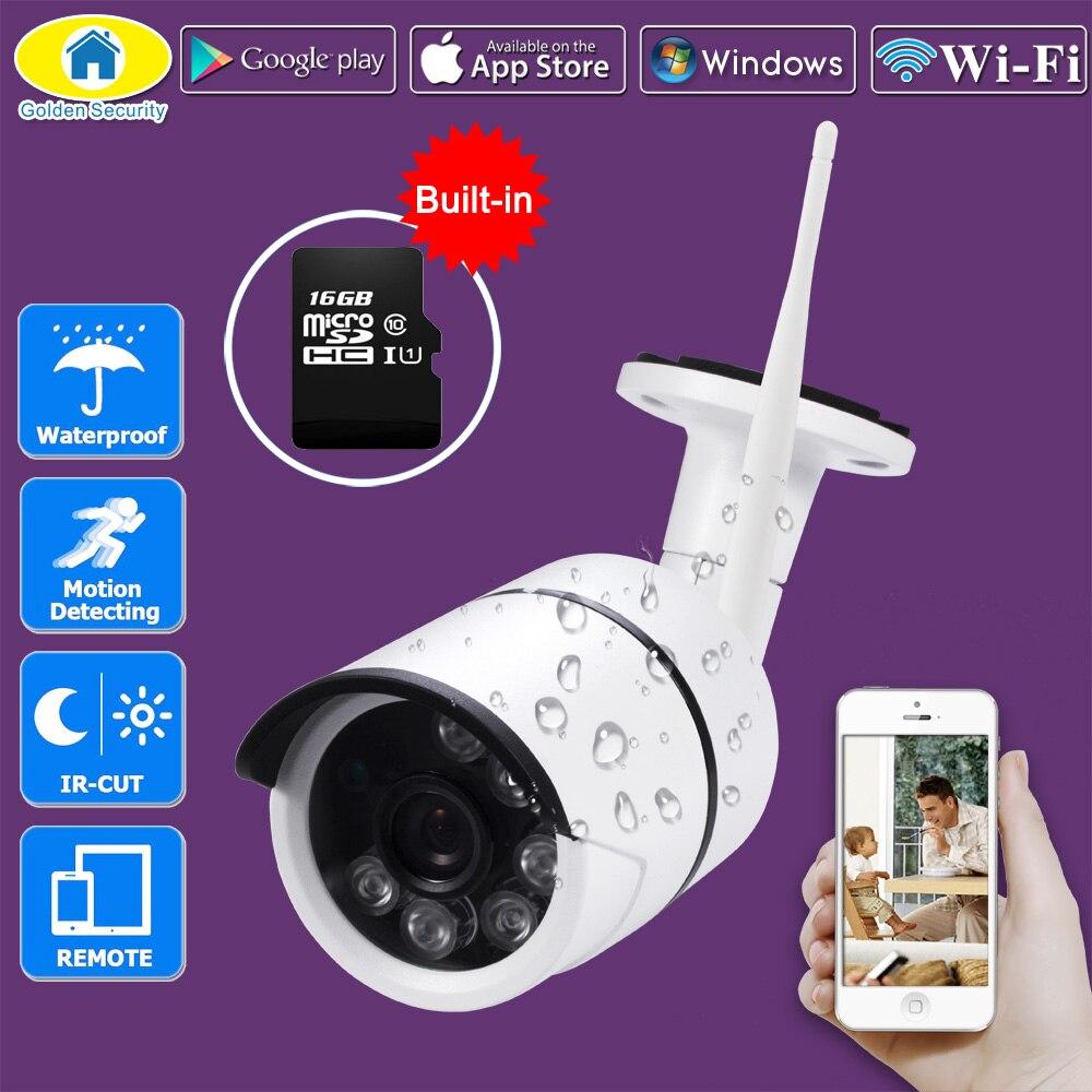 Golden Security Outdoor Waterproof IP Camera WiFi Wireless Surveillance Camera Built-in 16G Memory Card CCTV Camera Night Vision<br>