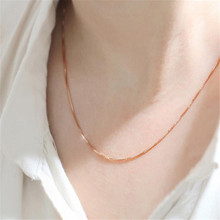 HOT Brand Women's Fashion Fine Jewelry Rose Gold Collares Box Chain Necklace For Men Women