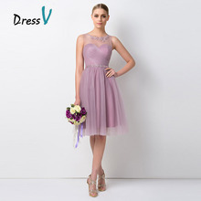 Dressv Pretty Short Lavender Bridesmaid Dresses Sheer O-Neck A-Line Tulle Wedding Party Dresses Maid of Honor Vestidos De Noiva