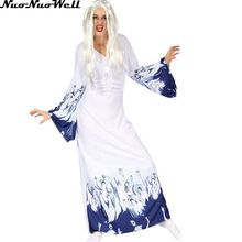 White Sorceress Sexy Costume Corset Adult Female Vampire Fancy White Ghost Long Dress Dress in Halloween Carnival Party Uniform(China)