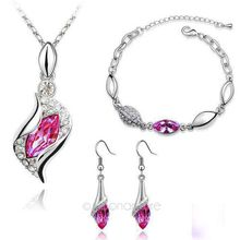 United States  Australian Crystals  Jewelry Set Women Crystal  Pendant Necklace & Bracelet Chain & Drop Earring  USA Style