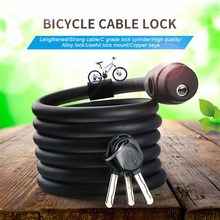 Bicycle Cable Lock 1.8m 1.4m Metal Anti-theft Lock with 3 Keys Cycling Password Combination Security Steel Wire Tough Locks(China)