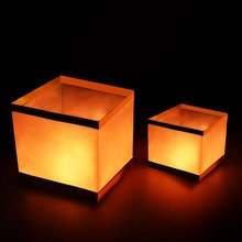 100pcs/lot 6inch Biodegradable Golder Water Lanterns Square Chinese Floating Lanterns On River Christmas Party Decorations