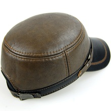 Hat cowhide middle-aged and old men's lear buckle spring flat hat autumn winter earmuffs and thicken cotton padded cap
