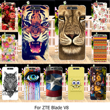 Silicone Plastic Phone Cases For ZTE Blade V8 V 8 5.2 inch Painted Cases Covers Shell Rose Cat Soft TPU Hard PC Cover Housing V8