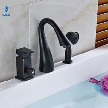 Ulgksd Bathtub Bath Sink Faucet Deck Moun W/ Hand Shower Black Brass Bathroom Faucet Hot and Cold Sinks Mixter Tap(China)