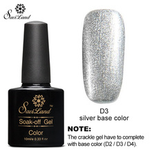 Saviland 1pcs Gold Silver White Base Color for 10ml Crackle Gel Nail Polish Manicure Collection Color Nail Gel(China)