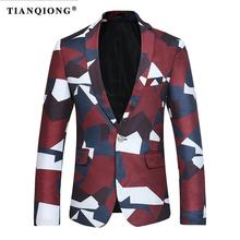 TIAN QIONG Blazer Men 2017 New Slim Fit Mens Multicolor Pattern Casual Suit Jacket 3XL 4XL Party Wedding Groom Prom Blazers(China)
