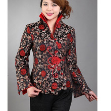 Hot Sale Black Traditional Chinese Women's Silk Satin Jacket Coat Flowers Size S M L XL XXL XXXL Free Shipping