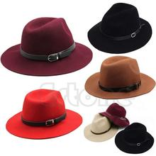 1 PC Fashion Design Women Warm Winter Wool Belt Fedora Cap Wide Brim Cowboy Hat New(China)