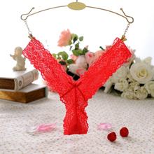 Best sale Women G String Sexy Lace Panties Transparent Super Thin Underwear(China)