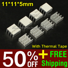 50% OFF + Free Shipping 2,000pcs 11*11*5mm Extruded Fans & Cooling Aluminum Ram Heatsink With Thermal Conductive Pad(China)