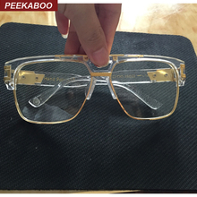 Peekaboo New fashion oversized gold clear frame glasses square high quality designer brand frames for eyeglasses male female big