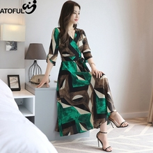 ATOFUL 2017 Summer New V Collar High Waist Dress Women Big Hem Mid Calf Geometric Print Vintage Dresses Vestidos Clothing(China)