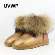 UVWP 2017 Fashion Thick Natural Fox fur Snow Boots Women Boots 100% Real Leather Waterproof Winter Warm Snow Boots Ankle Boots(China)