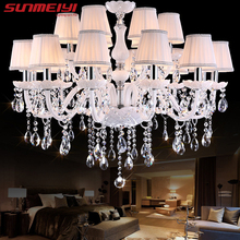 Modern LED White Crystal Chandelier Lights Lamp For Living Room Light Ceiling Fixture Indoor Pendant Lamp Home Decorative(China)