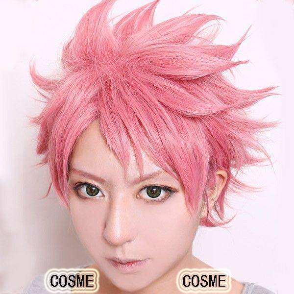 NEW Fairy Tail Natsu Dragneel Pink Short Shaggy layered Cosplay Wig Heat Resistance Fibre Free shipping<br><br>Aliexpress
