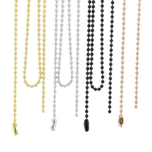 Wholesale chains 18'' 20'' 24'' 28'' 32'' 2.4mm silver/ gold/ rose gold/black 316 Stainless Steel Ball Chain Necklace
