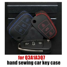 popular elegant best gift Hand sewing car key cover car styling car key case fit for AUDI Q3A1A3Q7 genuine quality leather(China)