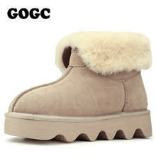 GOGC 2017 Snowshoes Women's Winter Boots with Wool Fur Comfortable Ankle Women Boots Genuine Leather Women's Winter Shoes Casual(China)