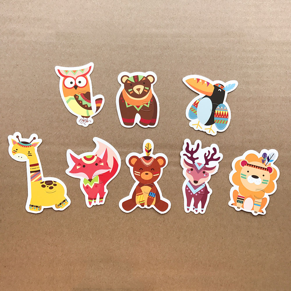 40pcs Animal Lollipop Candy Decorating Cards Jungle Theme Birthday Party Supplies Kids Handmade Packaging Lion Fox