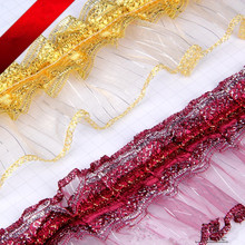 10Yards/Lot 7.5cm Wide Glass Yarn Lace Trim Cloth Pillow Tapestry Edge Braid Lace Accessories Fringes Ribbon DIY Wedding Decor