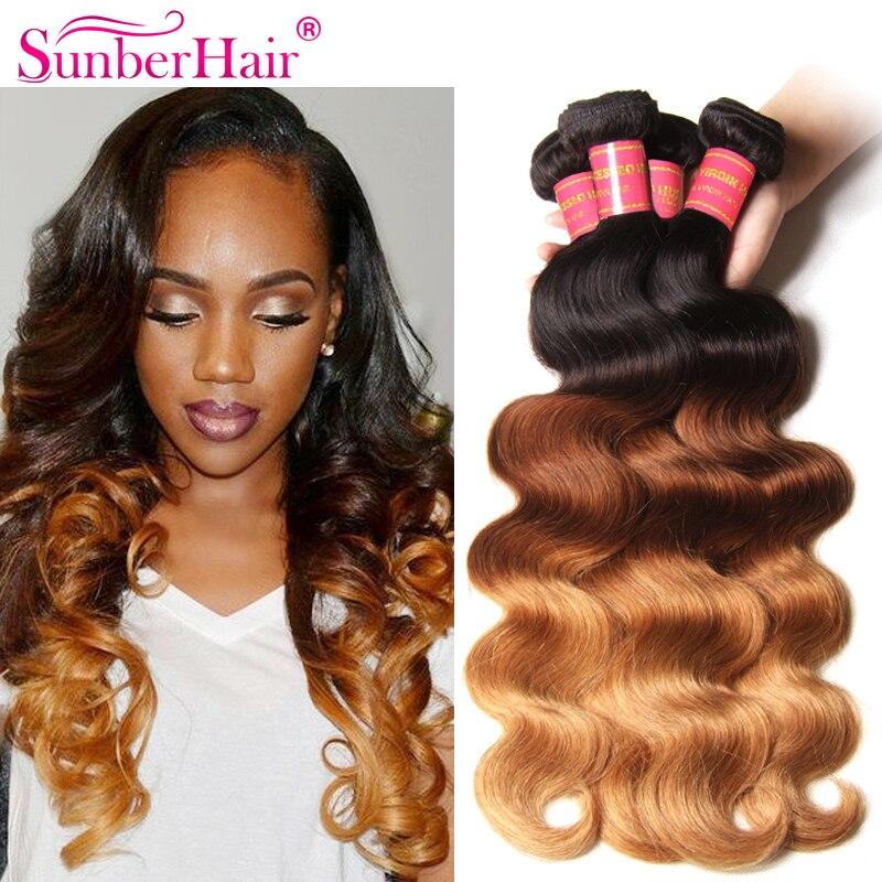 Ombre Blonde Brazilian Hair Ombre Brazilian Virgin Body Wavy Hair 3Pcs Blonde And Black Virgin Hair Sunber Hair Free Shipping<br><br>Aliexpress